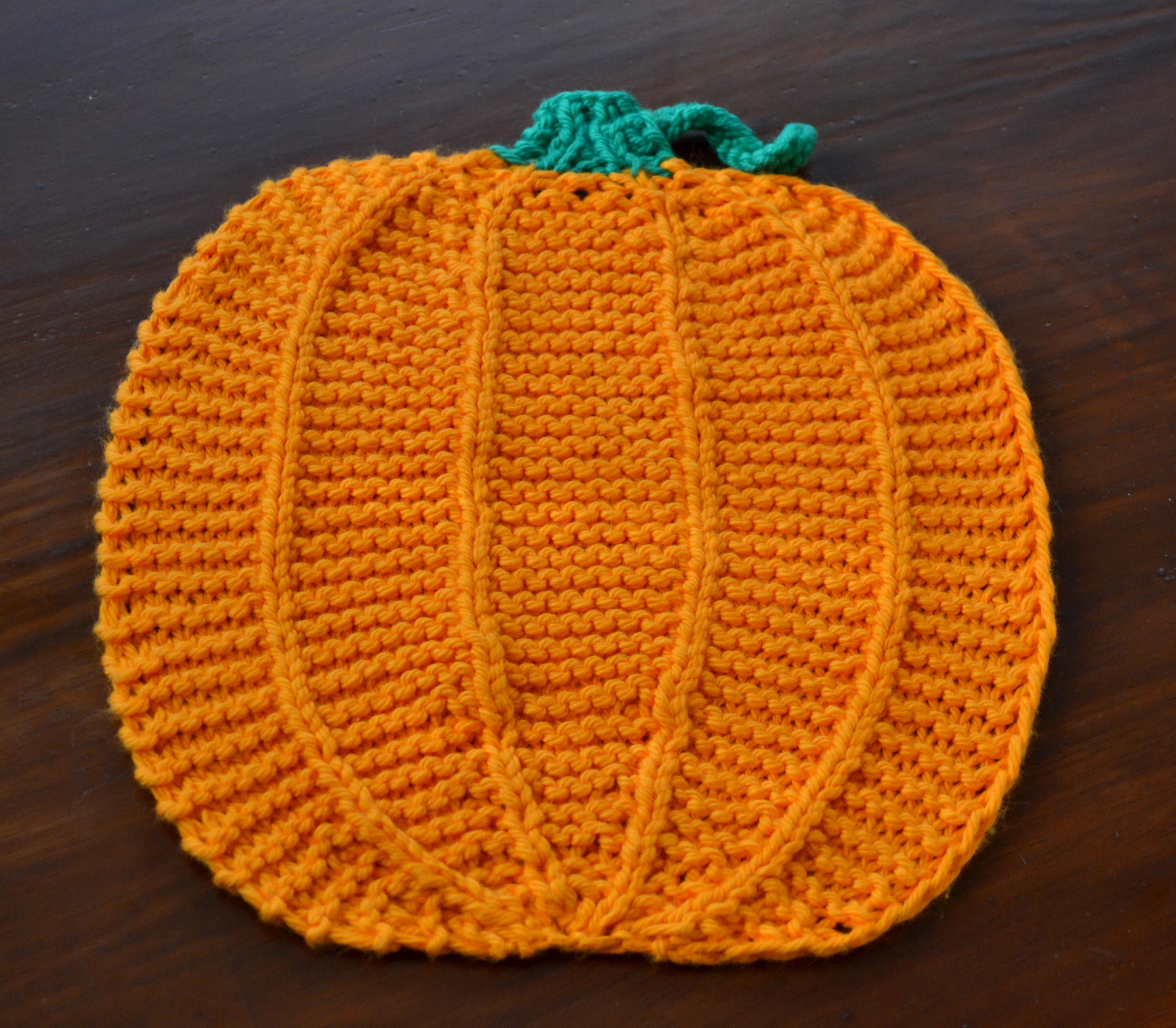 Finished Knit–Pumpkin Dishcloth | Bayou-Mama
